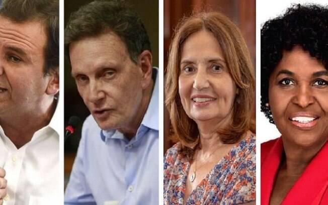 Eduardo Paes (DEM), Marcelo Crivella (Republicanos), Martha Rocha (PDT) e Benedita da Silva (PT)
