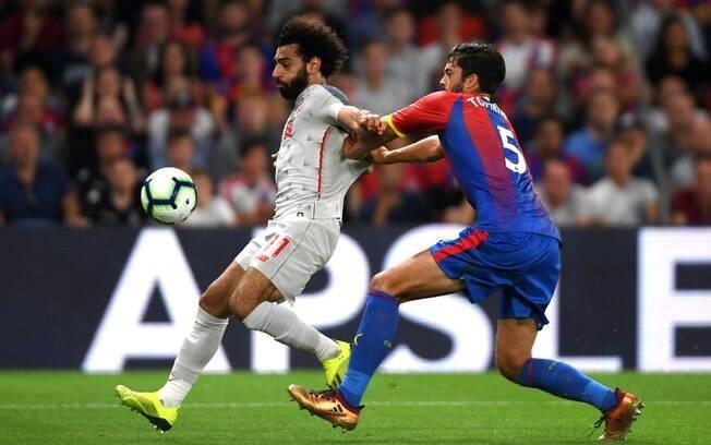 Salah em ação pelo Liverpool contra o Crystal Palace