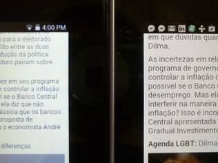 Telas do Iconia One 7 (esq.) e Nexus 7 2012: tela do Iconia tende para o azul