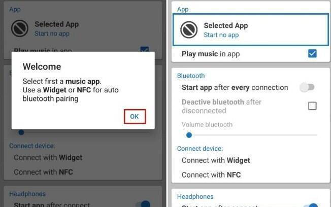 """Ao abrir o aplicativo pela primeira vez, toque em """"Ok"""" na mensagem e vá em """"Selected App"""""""
