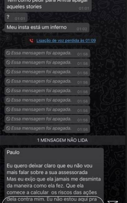 Mensagem de Leo dias enviada a assessor de Anitta