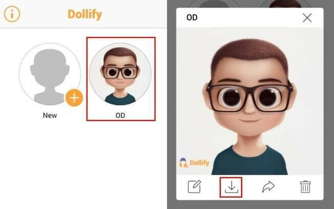 Para baixar o Dollify no celular, é só selecioná-lo e, depois, clicar no ícone de download
