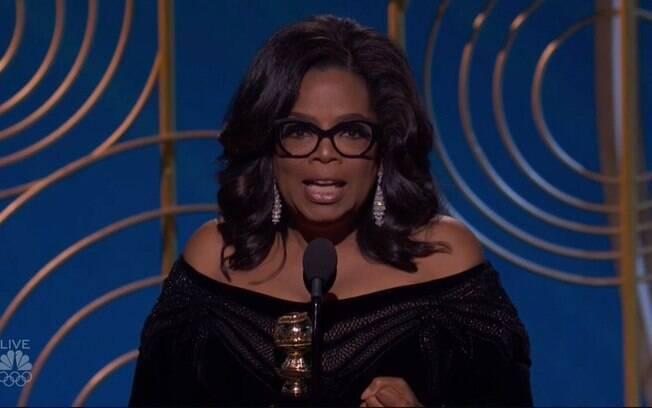 Oprah durante seu discurso no Globo de Ouro