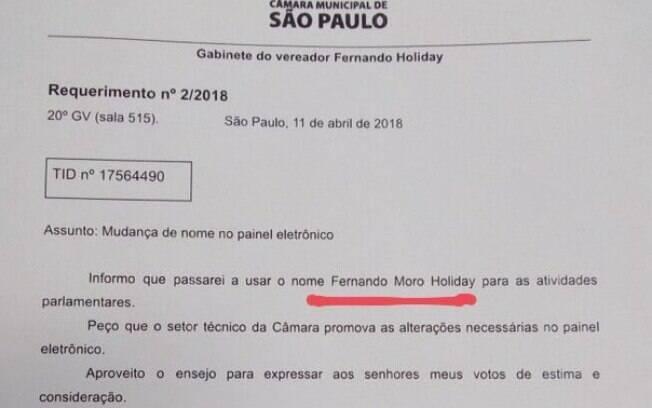 'Informo que passarei a usar o nome Fernando Moro Holiday para as atividades parlamentares', diz o requerimento