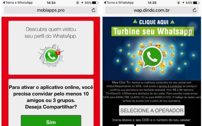 Após compartilhar mensagem com outras pessoas, usuário é encaminhado a sites fraudulentos