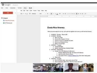 Google Docs está integrado ao serviço de videoconferência Hangouts