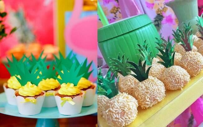 Beijinhos e cupcakes podem virar mini abacaxis super fofos se forem colocados detalhes em verde em cima do docinho