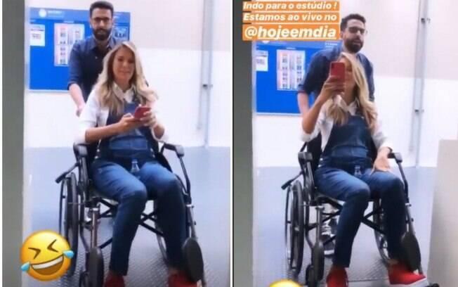 Ticiane Pinheiro surge em cadeira de rodas nos estúdios da Record