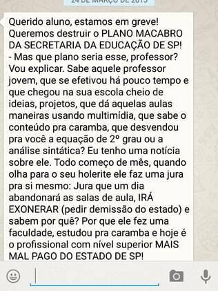 Professores em greve explicam situação para alunos e pedem apoio por whatsApp