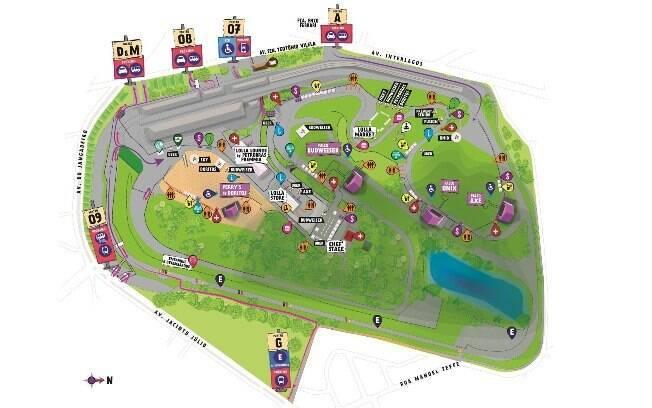 Confira o mapa do Lollapalooza 2018