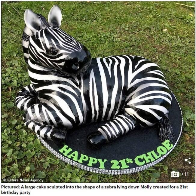 Bolo de aniversário em forma de zebra