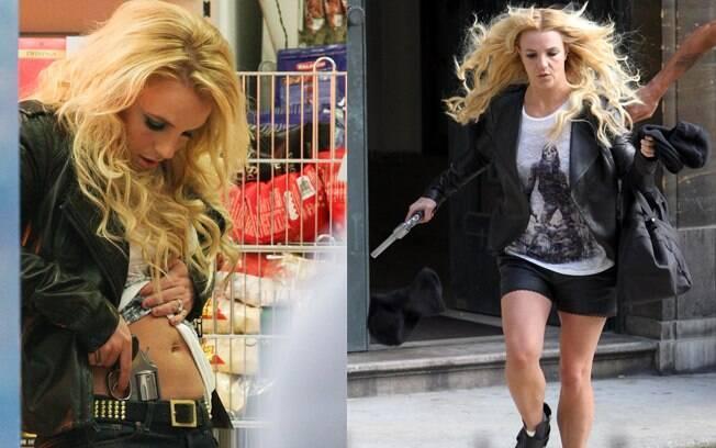 Britney Spears gravando seu clipe nas ruas de Londres