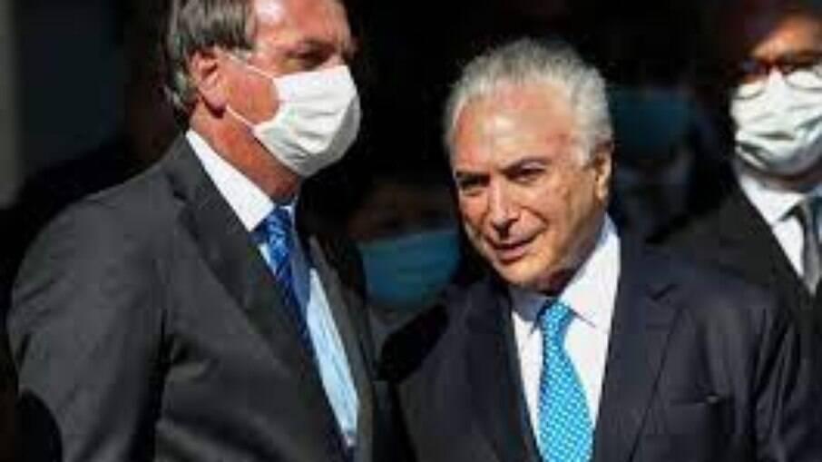 O atual presidente da República, Jair Bolsonaro e o ex-presidente Michel Temer