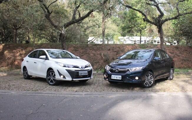 Toyota Yaris Sedan e Honda City travam uma briga  acirrada, mas o primeiro vem mais equipado e custa um pouco menos
