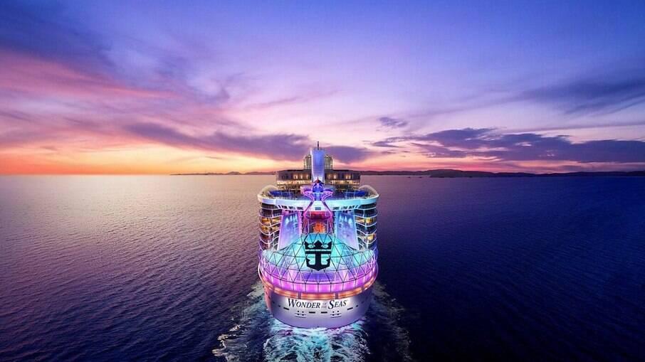 Wonder Of The Seas, maior navio do mundo, estreia nos EUA e vai navegar rumo ao Caribe; em maio, embarcação vai para o Mar Mediterrâneo