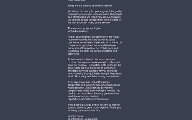 Grooveshark anunciou o fim do serviço de compartilhamento de músicas no dia 30 de abril