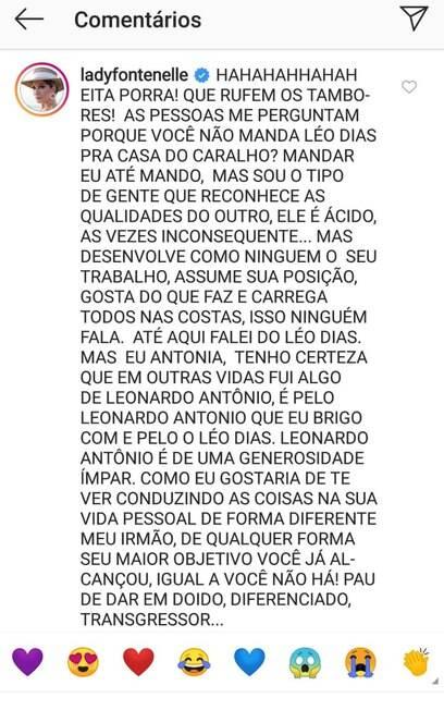 Em outra publicação%2C Antonia Fontenelle declara apoio a Leo Dias