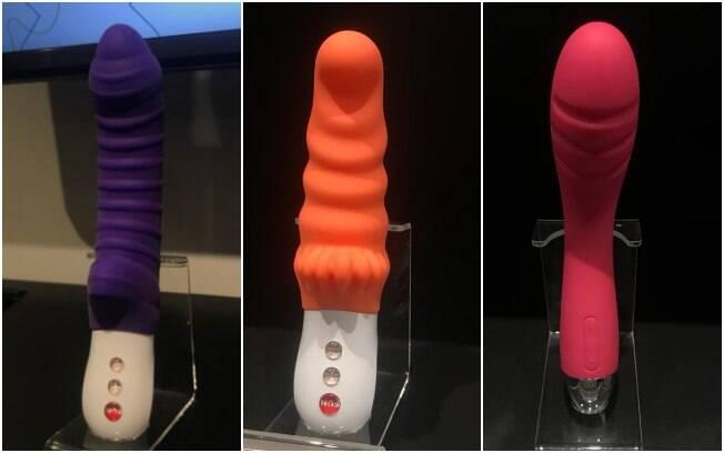"""Modelo do vibrador feminino da esquerda para a direita: """"Fun Factory Tiger"""", """"Fun Factory Moody"""" e """"Svakom Betty"""""""
