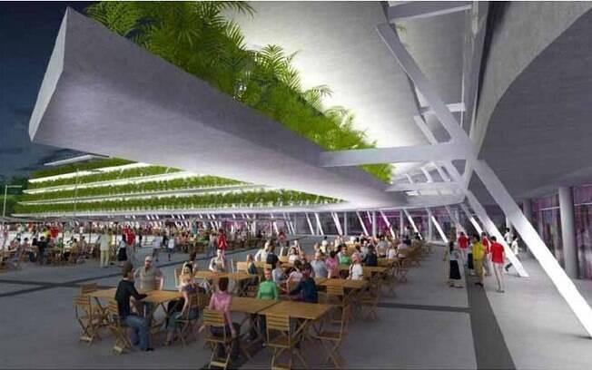 De acordo com o projeto da licitação, área  terá uma grande praça de alimentação