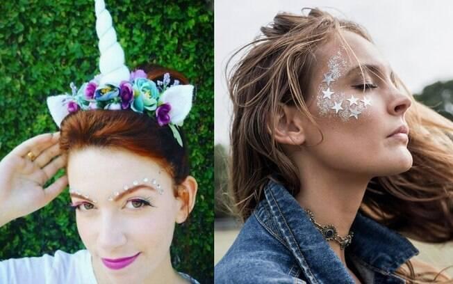Além das diferentes cores que você pode inserir na maquiagem, o uso de brilho é outra forma de criar um efeito mítico