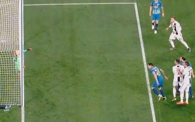 A bola na cabeçada de Cristiano Ronaldo entrou ou não entrou?