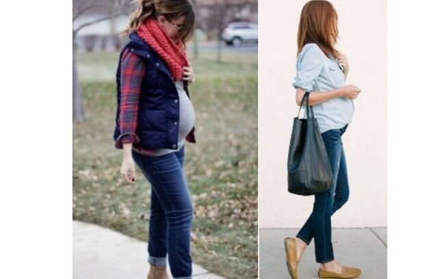 O colete ou a camisa do marido podem compor o look da grávida também