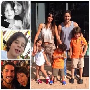 Marcos Mion em foto com o filho, Romeo, a mulher, Suzana, e os filhos Donatella e Stefano