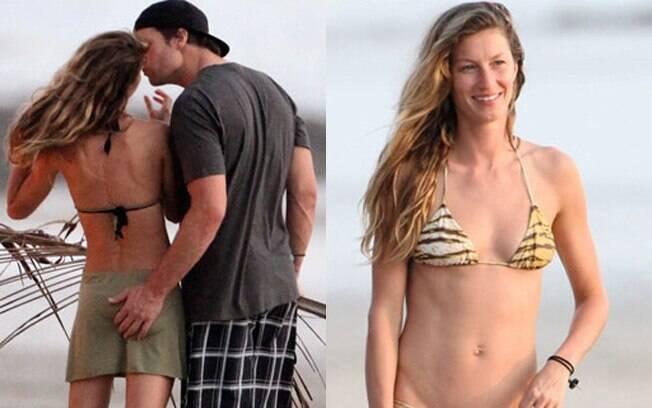Tom Brady deu uma passadinha de mão leve na mulher Gisele Bündchen...