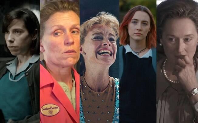 Da esquerda para a direita: Sally Hawkins, Frances McDormand, Margot Robbie, Saoirse Ronan e Meryl Streep