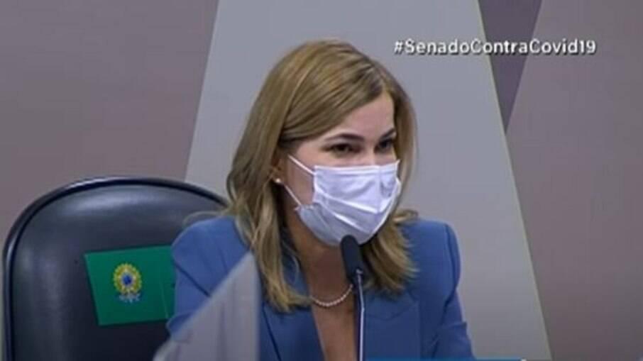 Mayra Pinheiro em depoimento à CPI da Covid-19 no Senado Federal