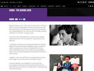 Site oficial de Hamilton traz texto homenageando seu ídolo