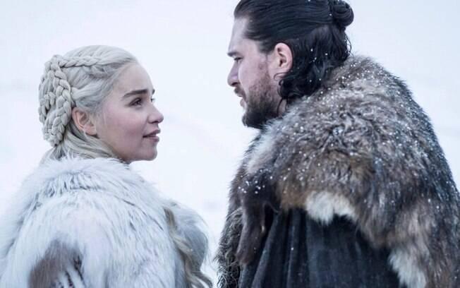 Daenerys e Jon Snow em cena do primeiro episódio do oitavo ano de Game of Thrones