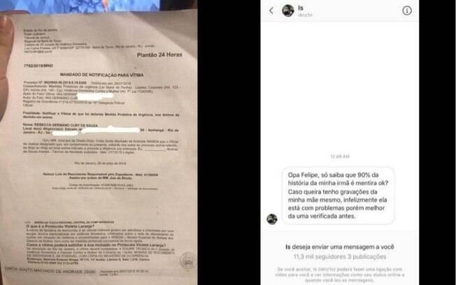 A esquerda, a ordem restritiva de Rebecca contra o irmão e a direita o print da conversa com Felipe Neto