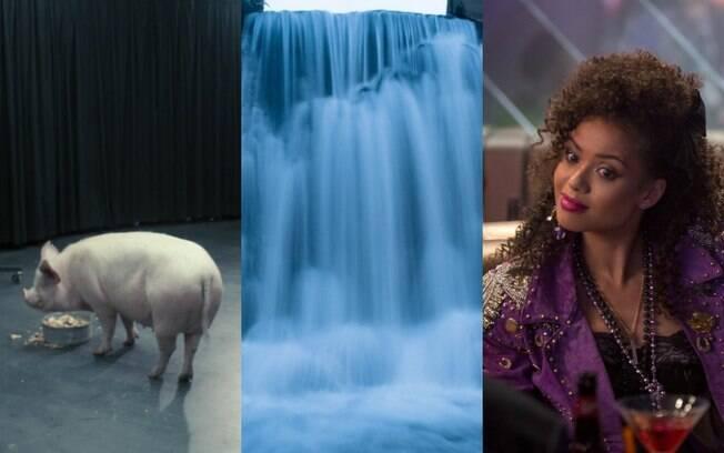 Cena de National Anthem (temporada inglesa) e cena de San Junípero (temporada americana) de Black Mirror
