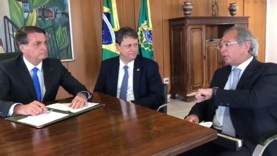 Jair Bolsonaro, Tarcísio Freitas e Paulo Guedes
