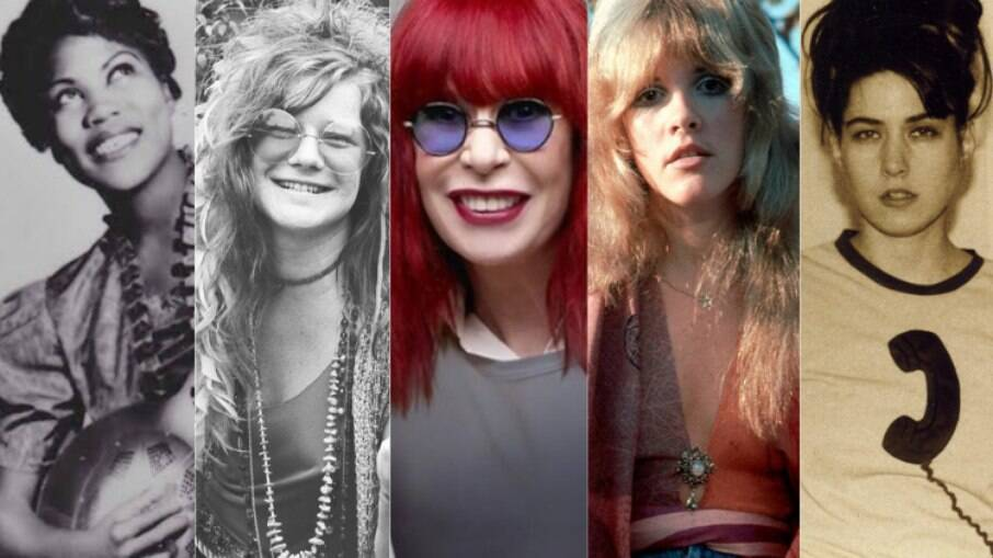 Conheça a trajetória percorrida por mulheres no rock; na foto, Siste Rosetta Tharpe, Janis Joplin, Rita Lee, Stevie Nicks e Kathleen Hanna (Bikini Kill e Le Tigre)