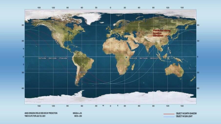 Mapa da queda do foguete soviético