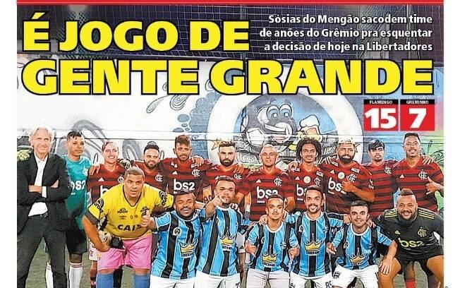 Capa do jornal Meia Hora com o jogo no Rio