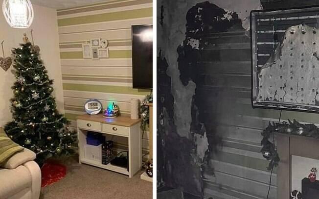 Casa de família no País de Gales foi destruída pelo fogo após incêndio com a árvore de Natal