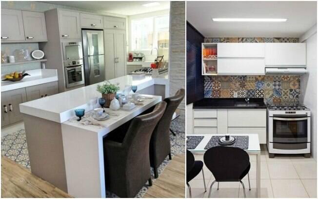 Sua cozinha não precisa ser toda lisa: use azulejos decorados e até papel de parede no chão para incrementá-la