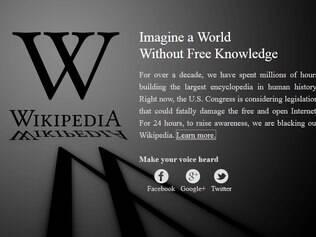 Wikipedia protesta contra projeto de lei SOPA