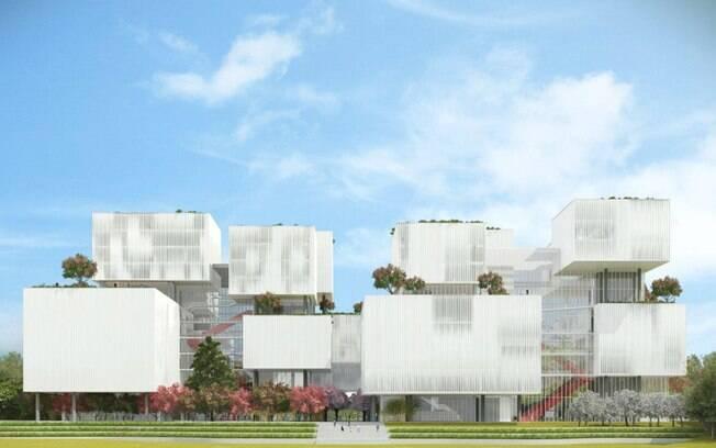 A proposta dos Jacobsen para o concurso do Centro Cultural Taichung, em Taiwan, era transformar os blocos dos prédios em verdadeiras lanternas flutuantes
