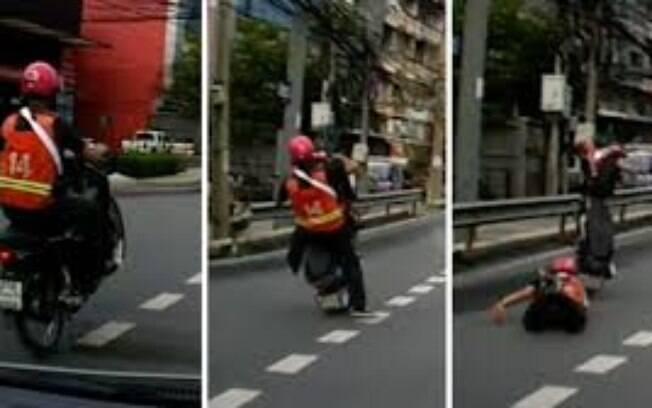 Ele perdeu o controle e tombou para trás, agarrando-se desesperadamente à moto enquanto ela voava para longe dele