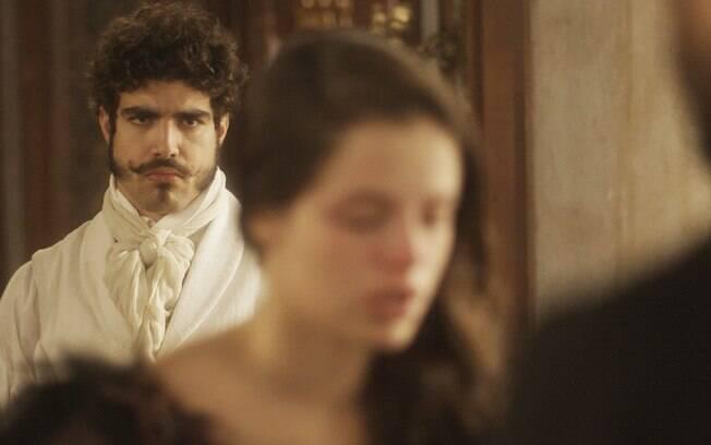 Pedro flagra Domitila confessando as armações dela, em Novo Mundo