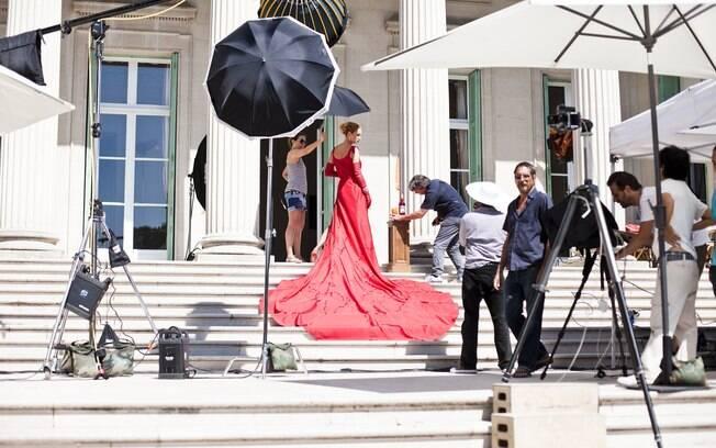 Making of de Uma Thurman para o calendário Campari 2014