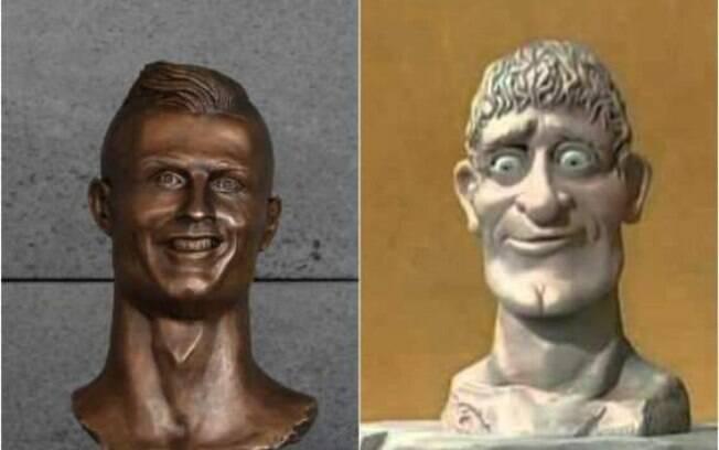 Busto de Cristiano Ronaldo comparado ao busto do programa