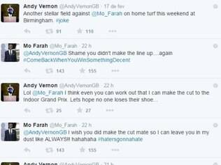 An dy Vernon e Mo Farah discutiram e até Taylor Swift foi citada na briga