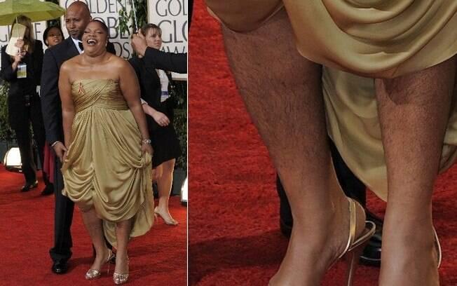 Vencedora do Oscar de melhor atriz coadjuvante em 2009, Mo'Nique exibiu as pernas cabeludas no tapete vermelho