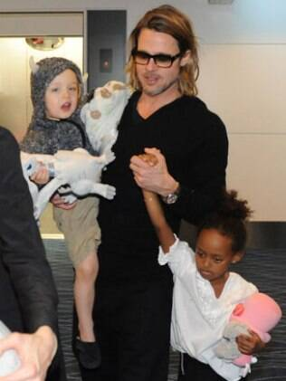 Brad Pitt com Zahara e Knox