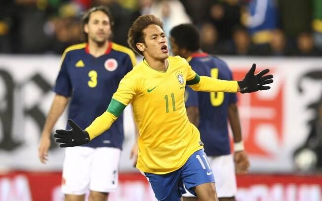 Neymar marcou gol no amistoso contra a  Colômbia